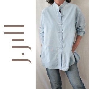 J. Jill Chambray Jean Shirt Mandarin Style Collar